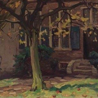"""Adri Pieck (1894-1982) - Hofje in najaarszon ( """" de Poth"""" Amersfoort)"""