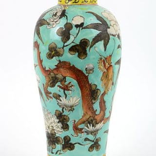 Vase - In the manner of dayazhai - Porcelain - Two flying...