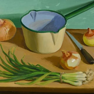 Arthur East Broadbent. (1909-1994) - Still life of vegetables and a metal pan.