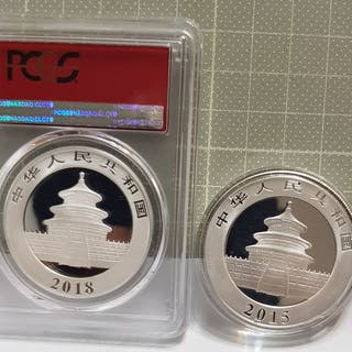 China - 2 x 10 Yuan - 2015 (1 Oz) / 2018 'Panda' (30 g, Ag.999)- Silber