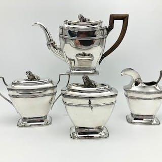 Juego de té plateado de cuatro partes - .925 plata