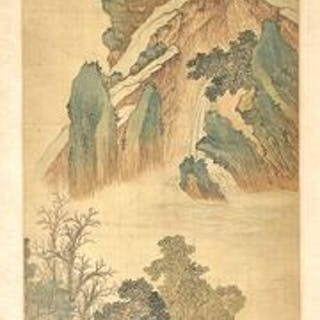 Very Large Painting of Landscape - Silk - China - 17th century