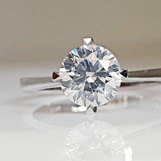18 kt. White gold - Ring - 1.04 ct Diamond - No Reserve E/SI1