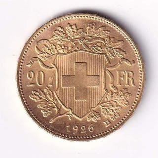 Switzerland - 20 Francs 1926-B Vreneli - Gold