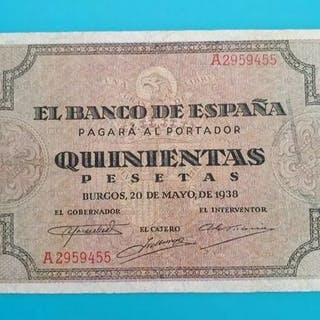 Spain - 500 pesetas Burgos 1938. Serie A - Pick 114a