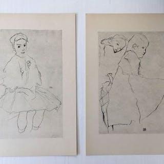 Egon Schiele (1890 - 1918) - 2 prints : Kleines Mädchen...