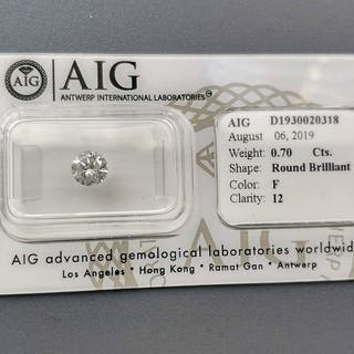1 pcs Diamond - 0.70 ct - Round - F - I2 - NO RESERVE PRICE