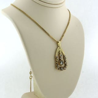 14 kt. Yellow gold - Necklace with pendant - 0.30 ct Diamond