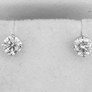 14 kt. White gold - Earrings - Clarity enhanced 1.07 ct Diamond - D/SI1