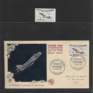 Frankreich 1954/1954 - Stamps and FDCs - Yvert Yvert Luchtpost nr. 30 t/m 33