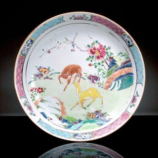 Plate - Famille rose - Porcelain - Deer, Lingzhi - China - 18th century