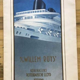 """Rotterdamsche Lloyd; Langsdoorsnede van het M.S. """"Willem Ruys"""" - 1939"""