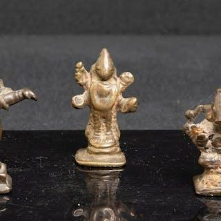 Sculpture - Bronze - Set of 3 gods of india - Vishnu /...