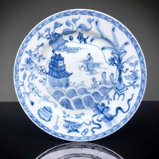 Plate - Blue and white - Porcelain - Crane