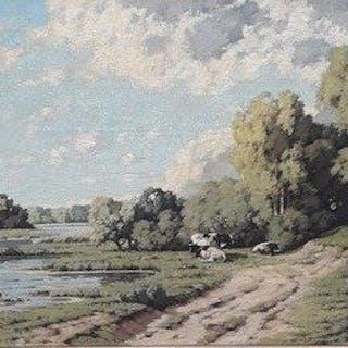 Piet Rackwitsz (1892-1968) - Hollands landschap met koeien