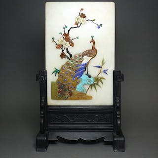 Table screen - Hardstone, Jade - China - Late 20th century