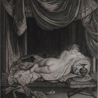 Charles-Étienne Gaucher (1740-1804) - Liggend vrouwelijk naakt