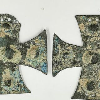 Medieval Crusaders Era Bronze Knight's Templar Cross-shaped armour fittings