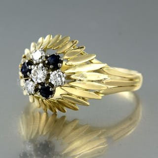 14 kt. White gold, Yellow gold - Ring - 0.26 ct Diamond - Sapphire