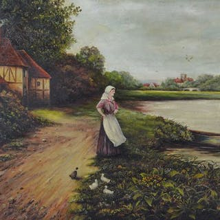W Fosbrook (20th century) - A bend in the River Ouse