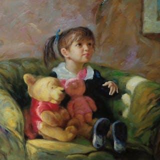 Vladimir Goussev (1957-) - Girl with toys