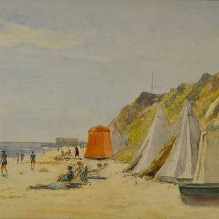 E H Coller. (20th century) - A beach scene with figures