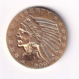 United States - 5 Dollars 1909-D Indian Head - Gold