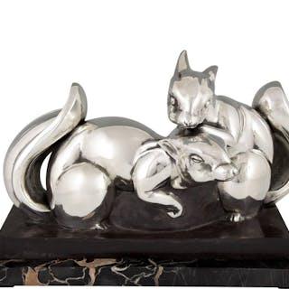 Jean de La Fontinelle - Scultura di Art Deco due scoiattoli