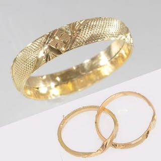 18 kt. Yellow gold - Intertwined wedding ring with hidden...