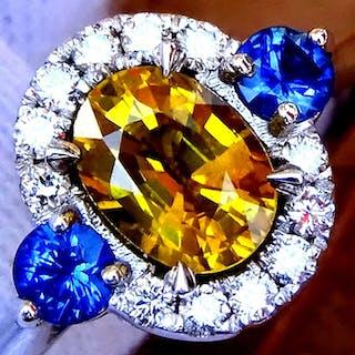 14 kt. White gold - Ring Yellow Sapphire- Diamond, Sapphire