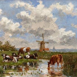 Albertus J. Temming (1942 -) - Koeien aan de plas in Nederlands landschap