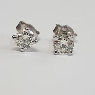 14 kt. White gold - Earrings - 0.83 ct Diamond