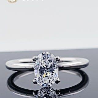 14 kt. Gold - Ring - 1.01 ct Diamond - D/VS1 GIA