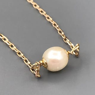 18 kt. Yellow gold - Necklace with pendant Pearl