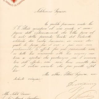 Ippolito Niccolini - Autograph; Letter with thanksgivings...