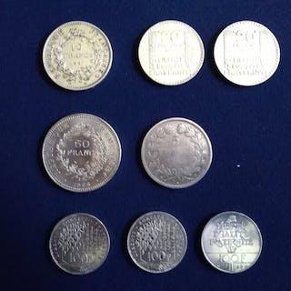 Frankreich - Lot de 8 monnaies (5 Francs a 100 Francs) 1834/1989 - Silber