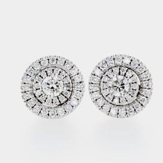 14 kt. White gold - Earrings - 0.95 ct Diamond