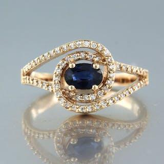 14 kt. Pink gold - Ring - 0.70 ct Sapphire - Diamond
