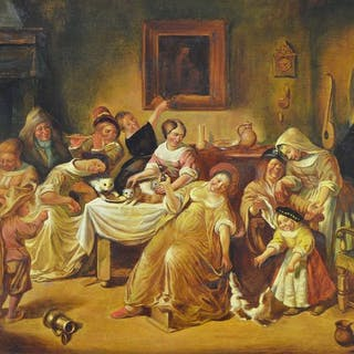 T. I. Gabris. (20th century) - A continental interior scene with many figures