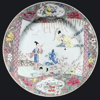 A Famille rose plate decorated with the Romance of the...