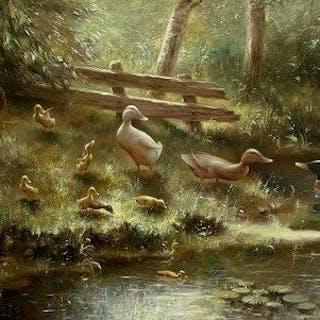 Hendrik Breedveld (1918-1999) - Eendenfamilie aan de waterkant