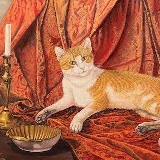 Marcel Cockx(1915 - 2007) - Stilleven met kat