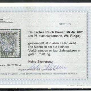"""Deutsches Reich 1920 - Dienstmarke mit Wasserzeichen """"Ringe"""" - Michel 60 Y"""