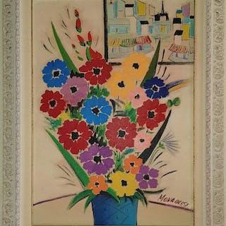 Sante Monachesi - Vaso di fiori con finestra su Parigi