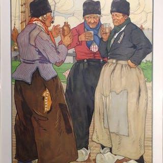 Henri Cassiers - Drinkende Volendammers- 1900s