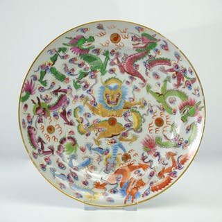 Fine Plate with Imperial Dragons - Porcelain - China - 19th century