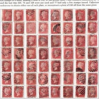 Großbritannien 1858/1879 - 1d red - Stanley Gibbons SG43/44 plates selection