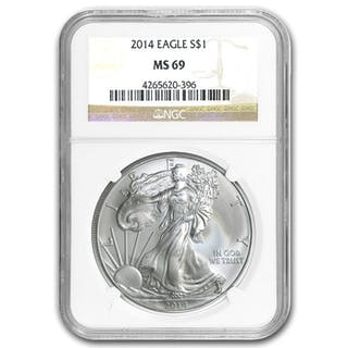 USA - 1Dollar 2014 American Eagle NGC MS-69 First im Slap gegradet - Silber