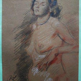 René Thomsen (1897-1976) - Dessin art-deco - femme nue debout