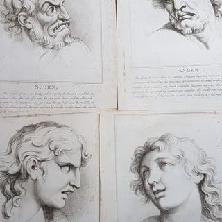 Four etchings after Charles Le Brun - The Passions of the Soul; Scorn